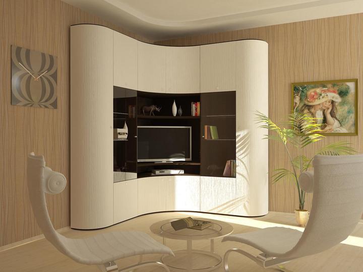 Маленький радиусный шкаф в гостиной