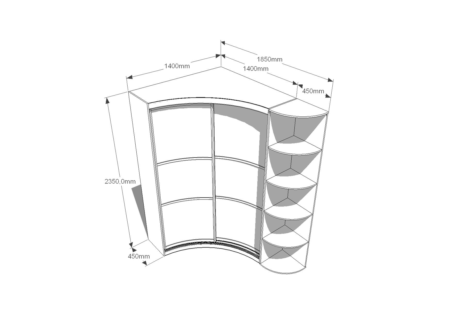 Радиусный угловой шкаф-купе с угловым элементом