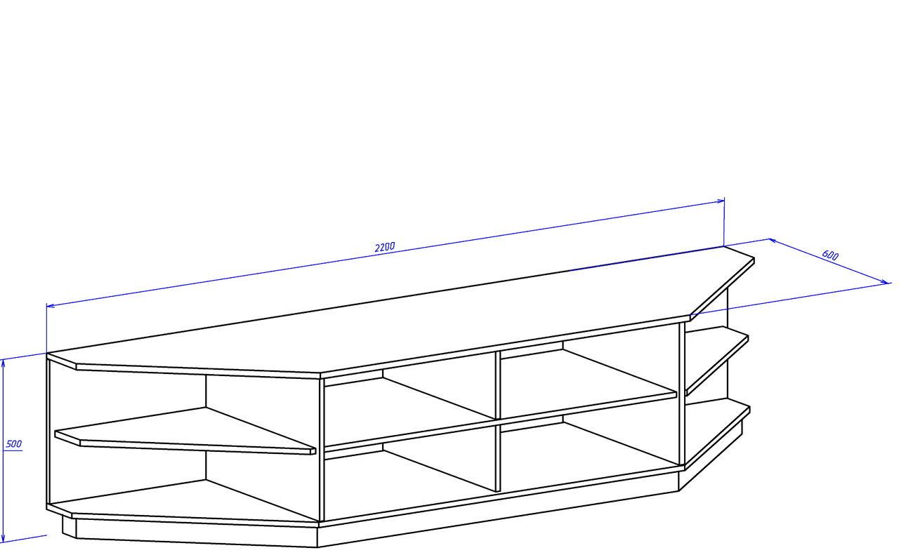 Размеры тумбы с открытыми полками