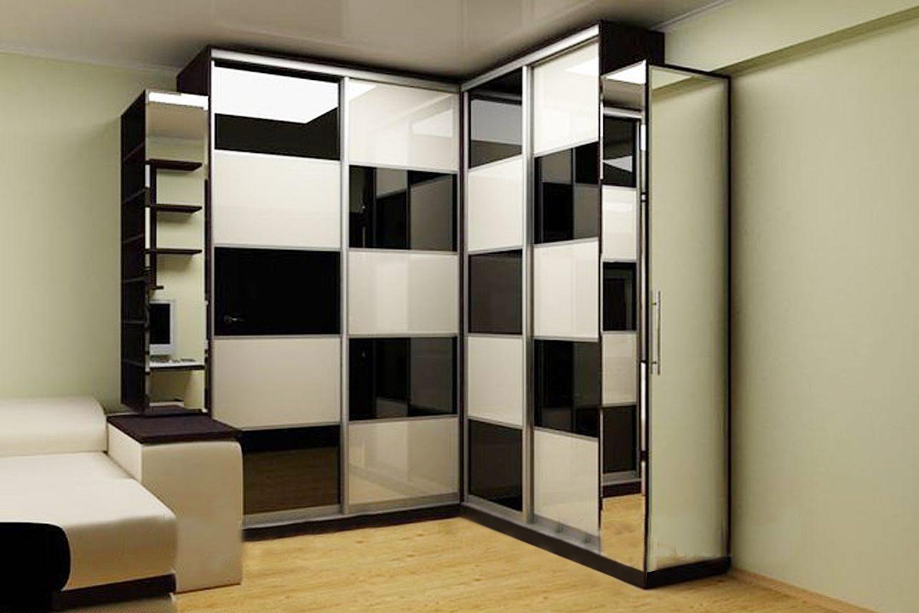 Шахматный дизайн углового шкафа