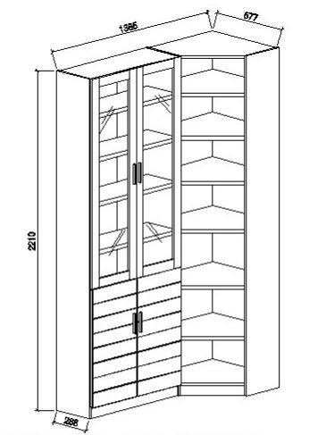 Шкаф угловой книжный