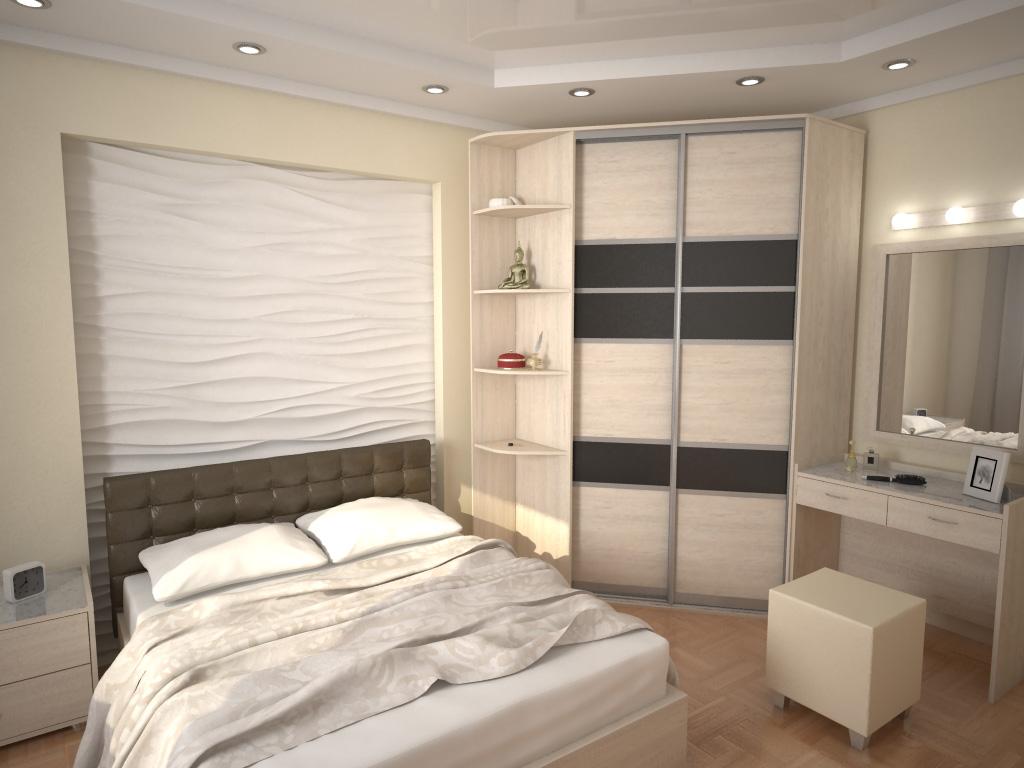 Шкаф в спальне в нише