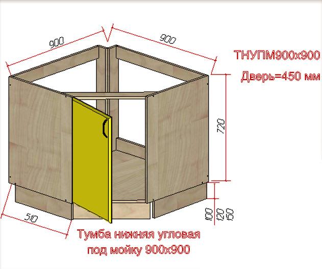 Схематический чертеж однодверной угловой тумбы