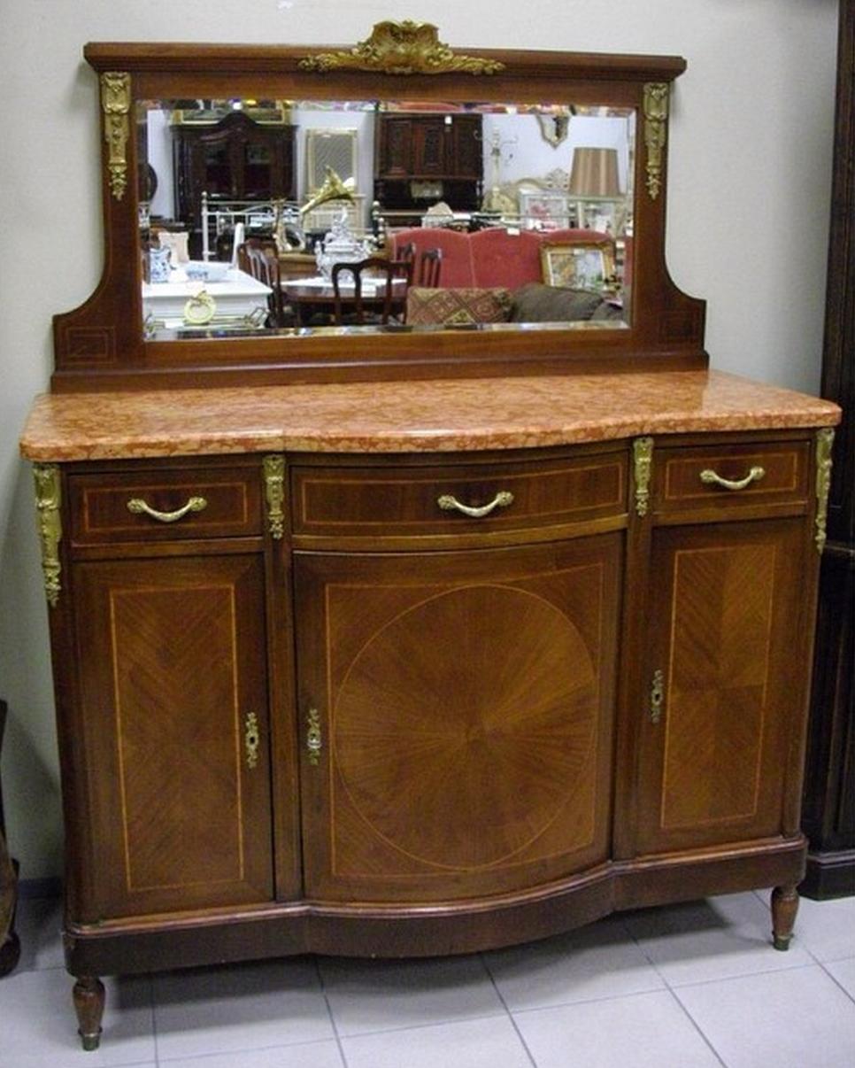 Старинный комод с зеркалом в стиле ампир с мраморной столешницей