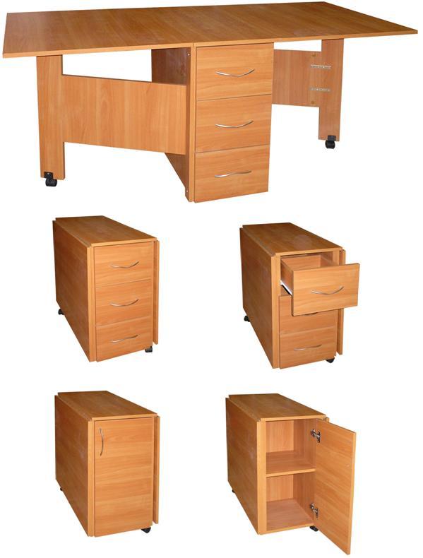 Стол-книжка с ящиками на роликах