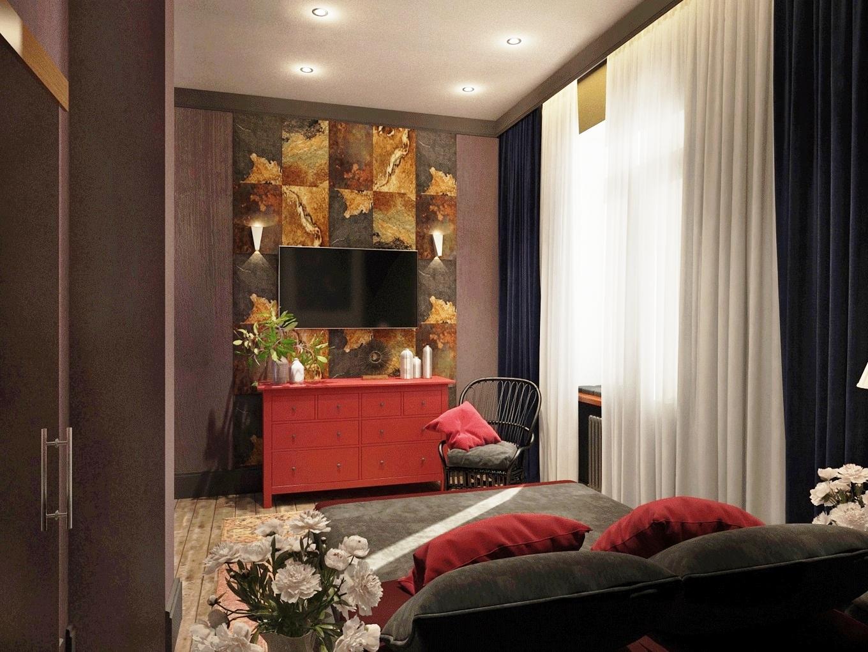 Телевизор в маленькой спальне с красным комодом