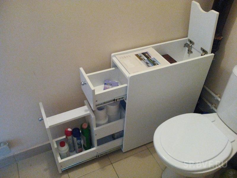Узкий комод для туалета и ванной комнаты