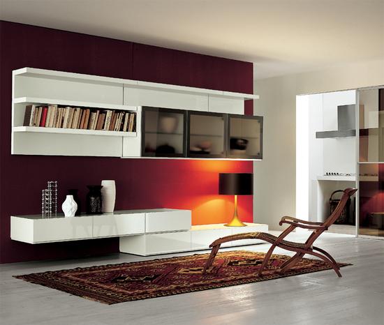 Белая глянцевая мебель в гостиную