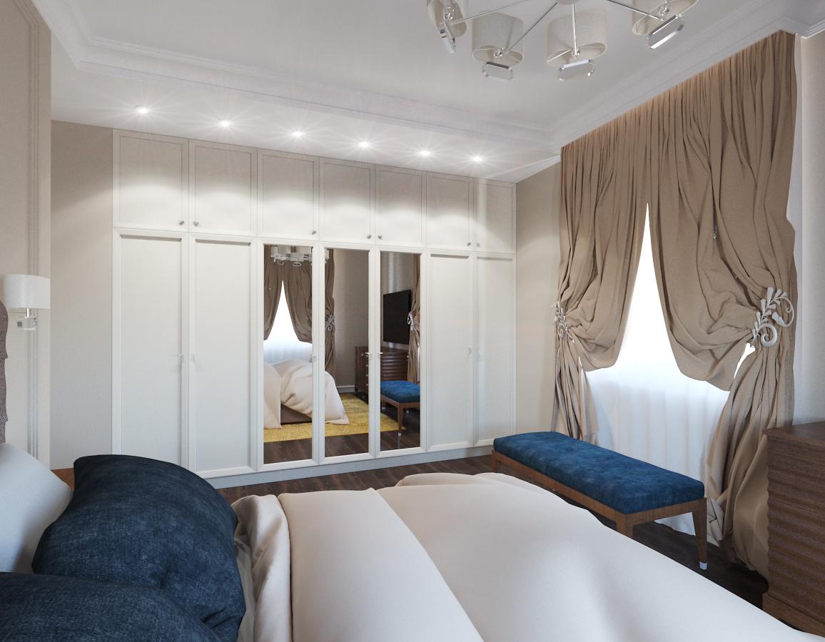 Белый гардеробный шкаф в современной спальне