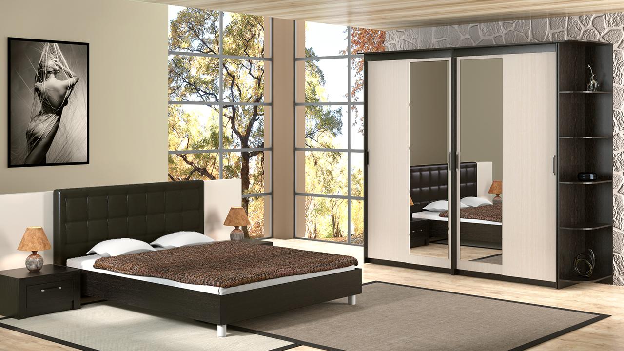 Дизайн шкафа с зеркальными вставками очень практичен для любой спальни