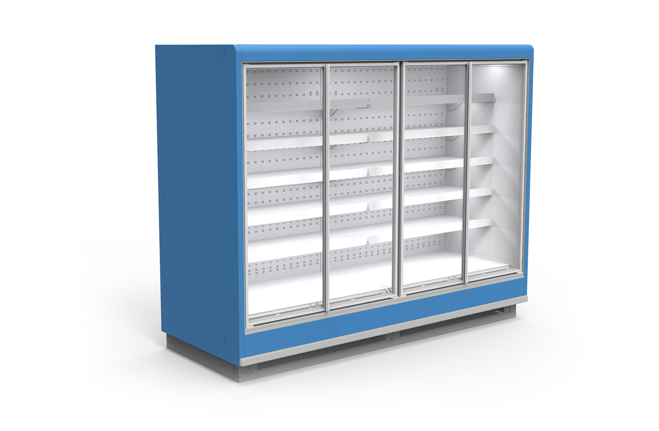 Длинный холодильный шкаф