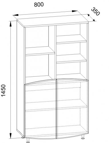 Габариты книжных шкафов