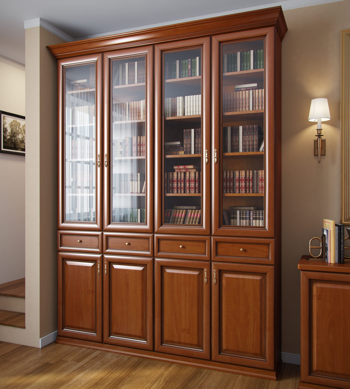Книжный шкаф с четырьмя створками