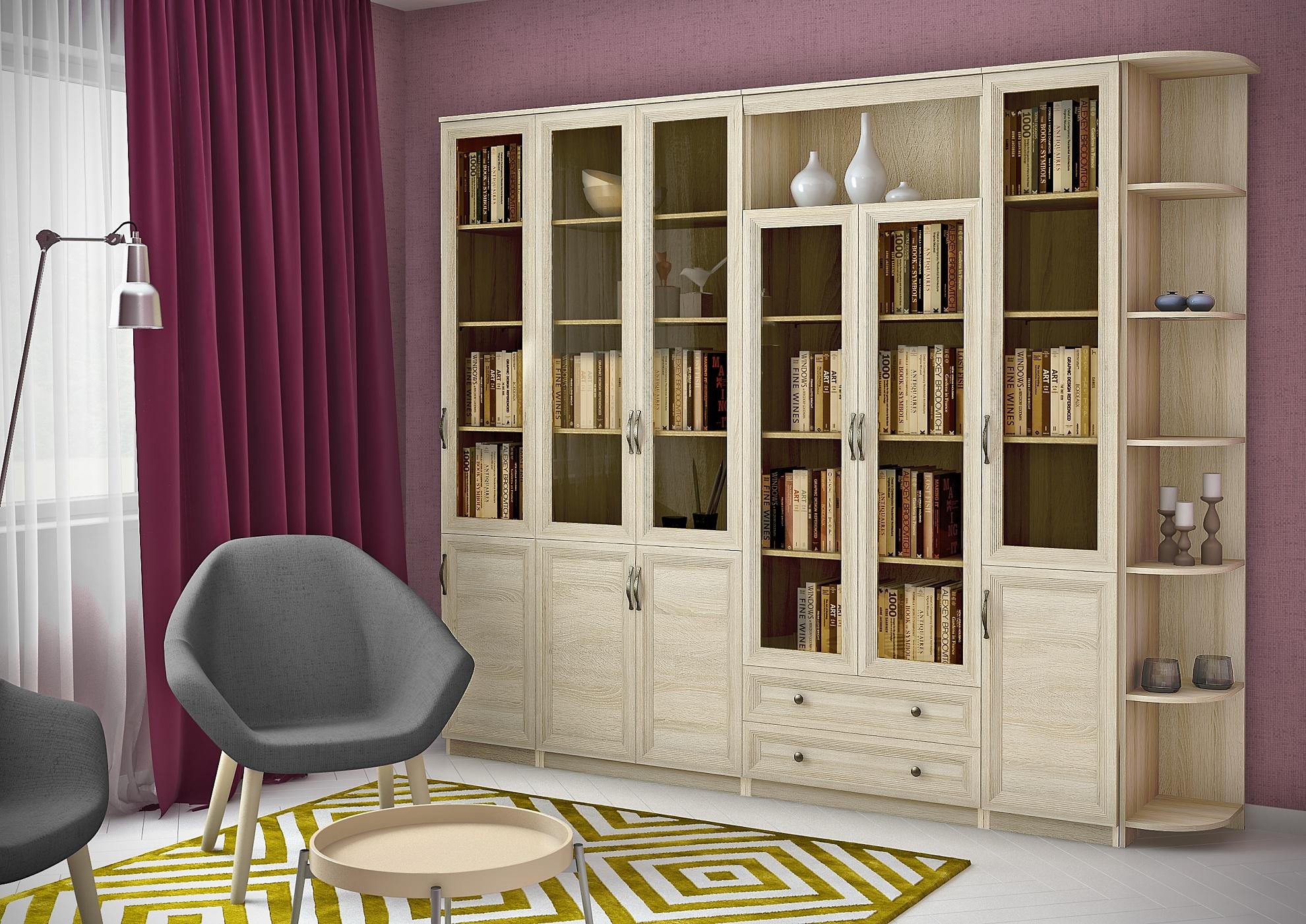 Книжный шкаф со стеклом узкий