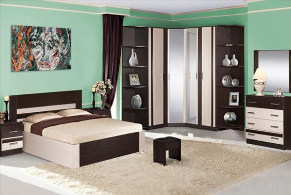 Модульная спальня с угловым шкафом – одно из лучших решений