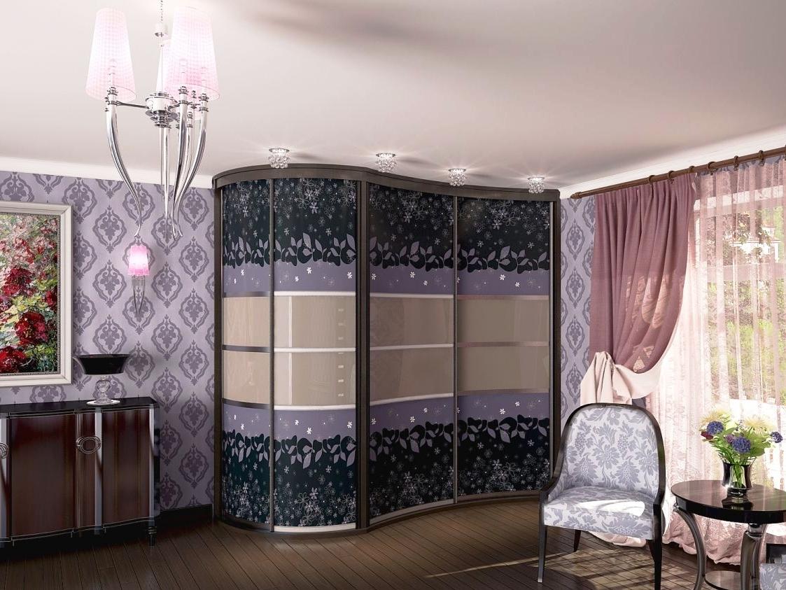 Радиусный шкаф купе в классическом дизайне