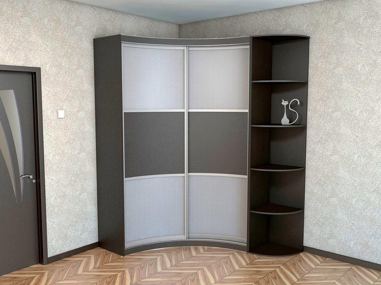 Радиусный шкаф станет отличным вариантом для маленькой прихожей