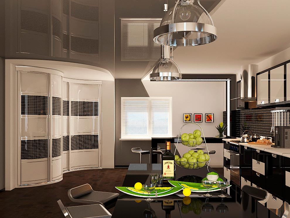 Радиусный шкаф в кухне