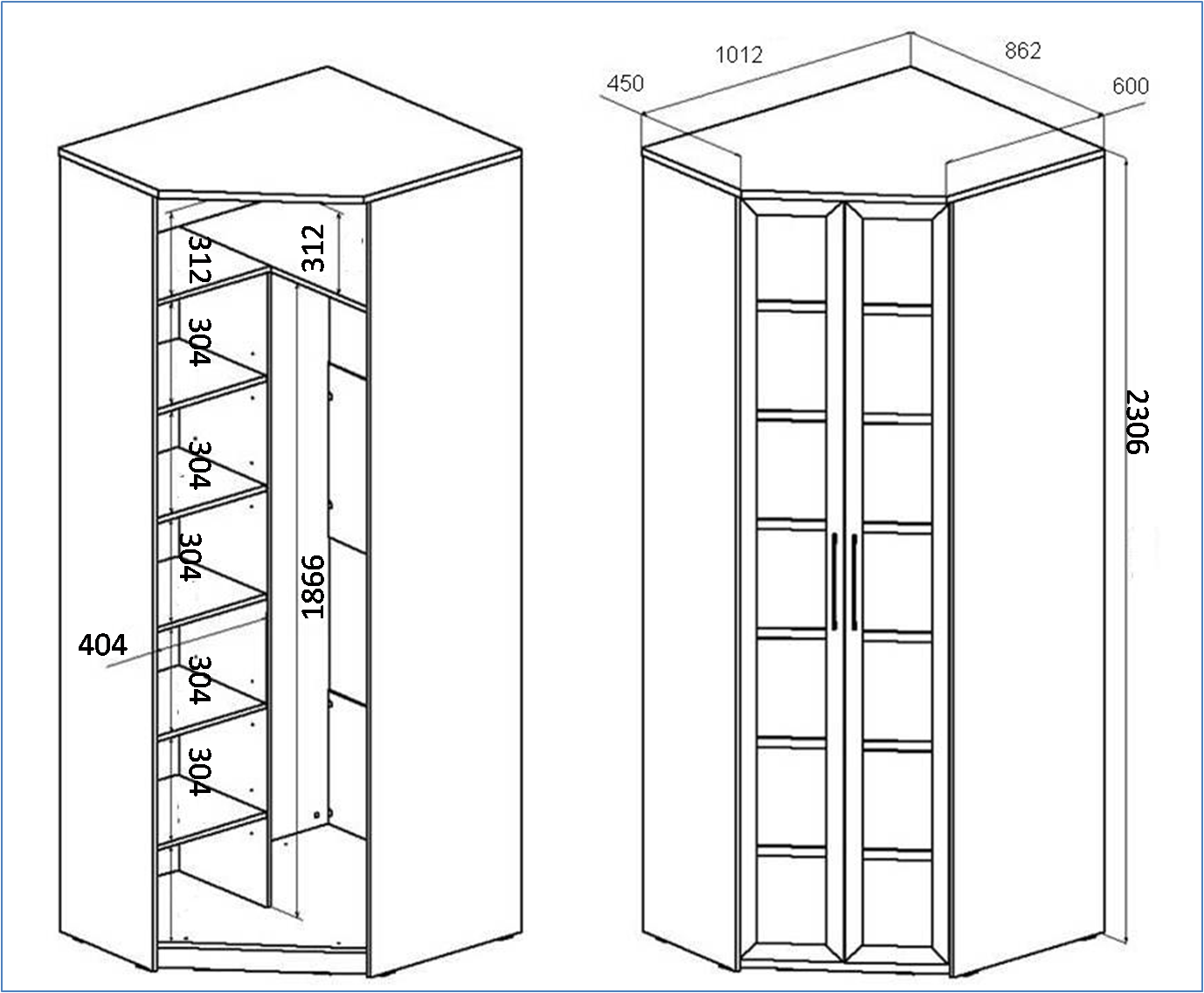 Размеры угловых шкафов