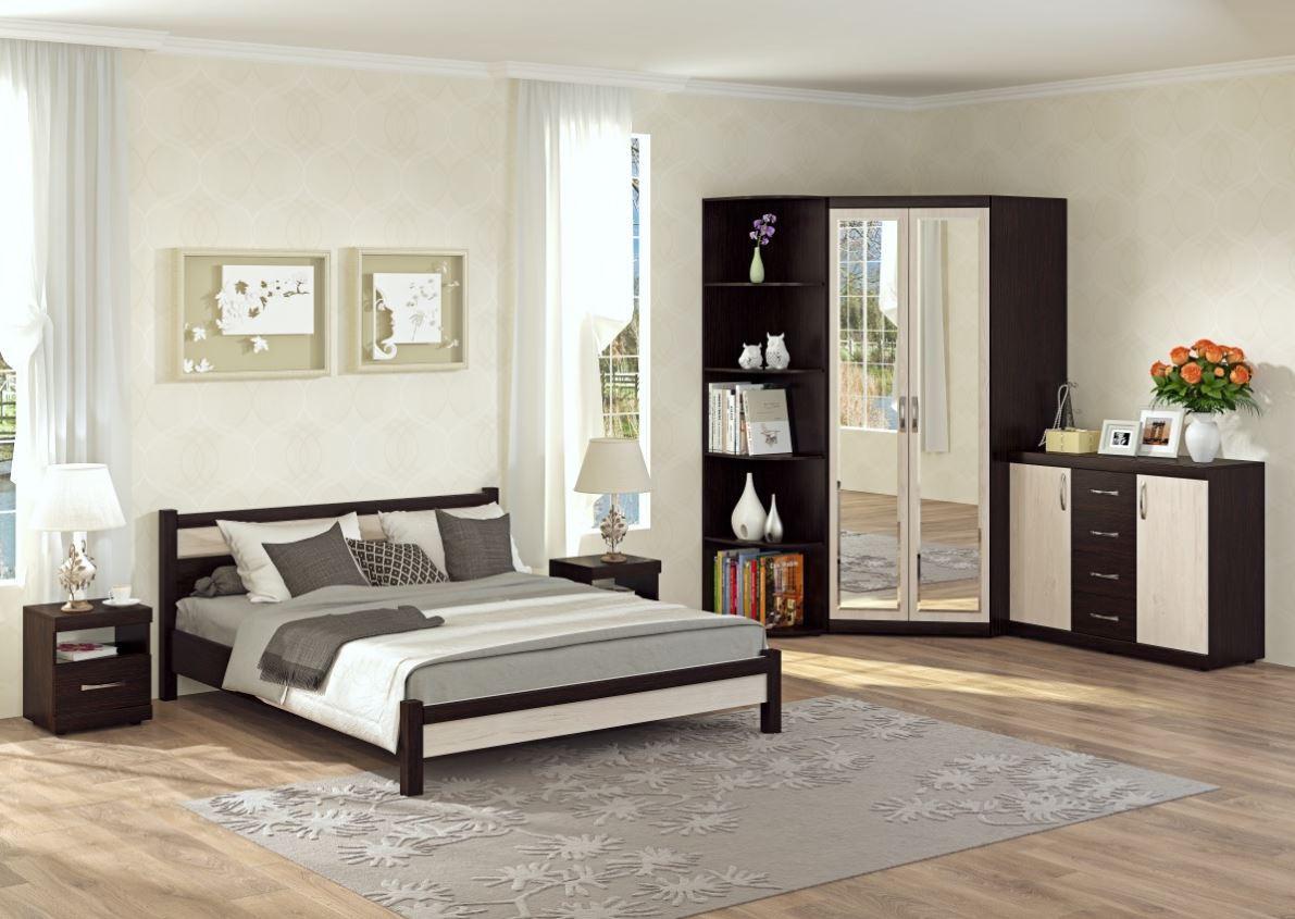 Шкаф с зеркальным фасадом в спальне