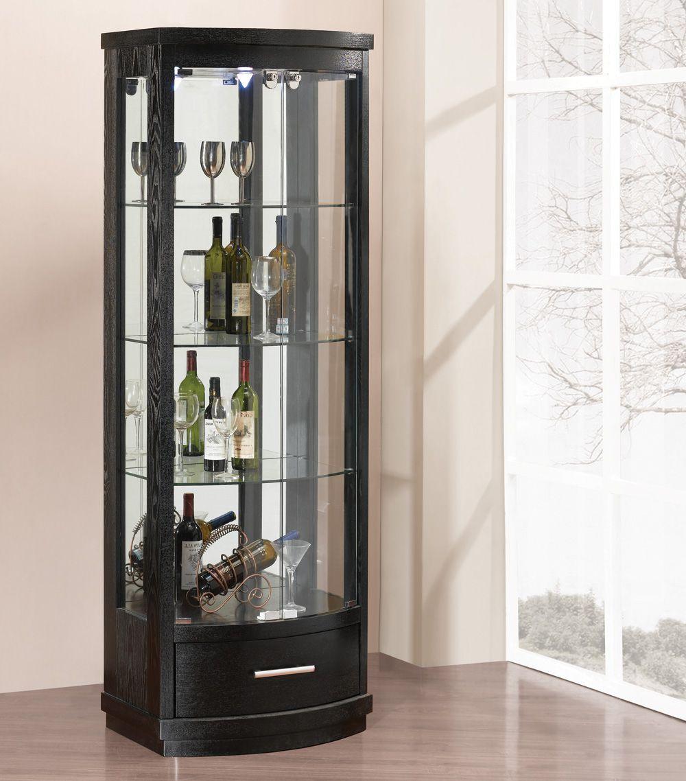 Шкаф витрина в черном цвете