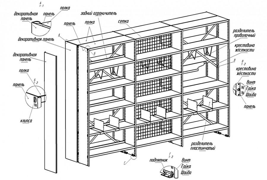 Схемы стеллажей для книг