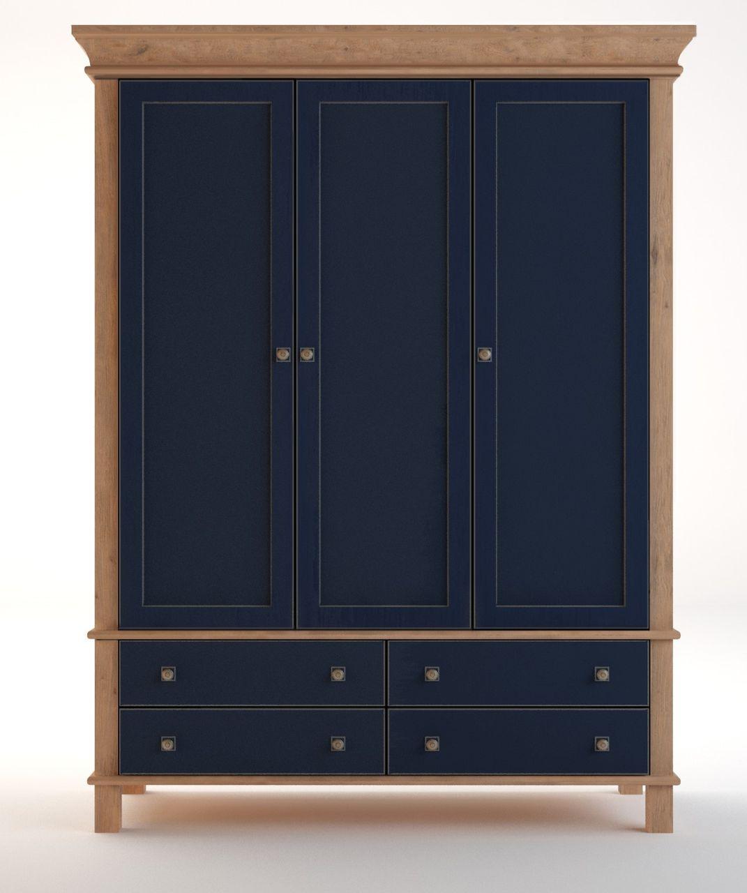 Синий деревянный трёхстворчатый шкаф