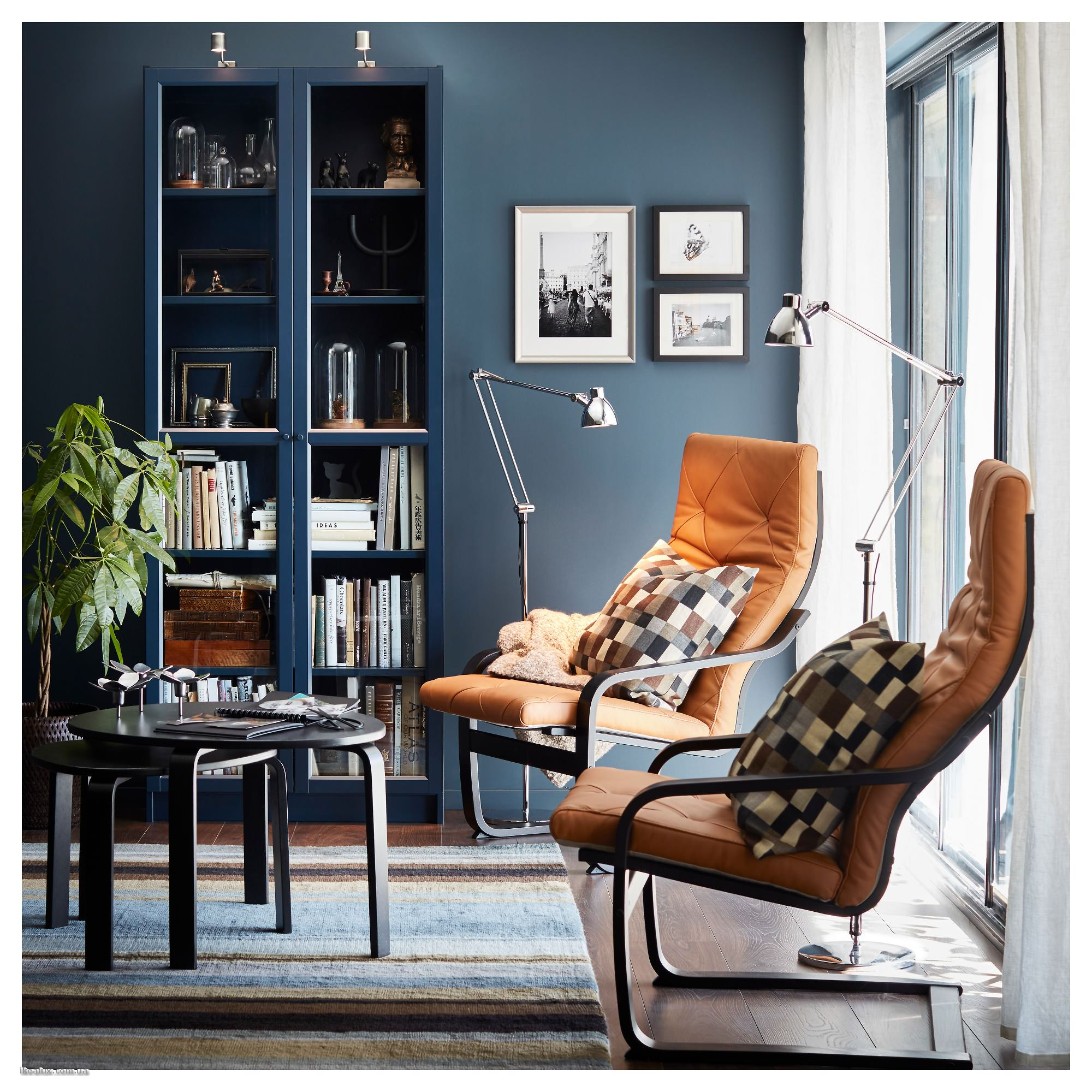 Синий книжный шкаф