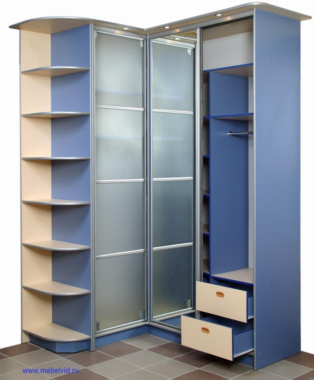 Синий шкаф купе