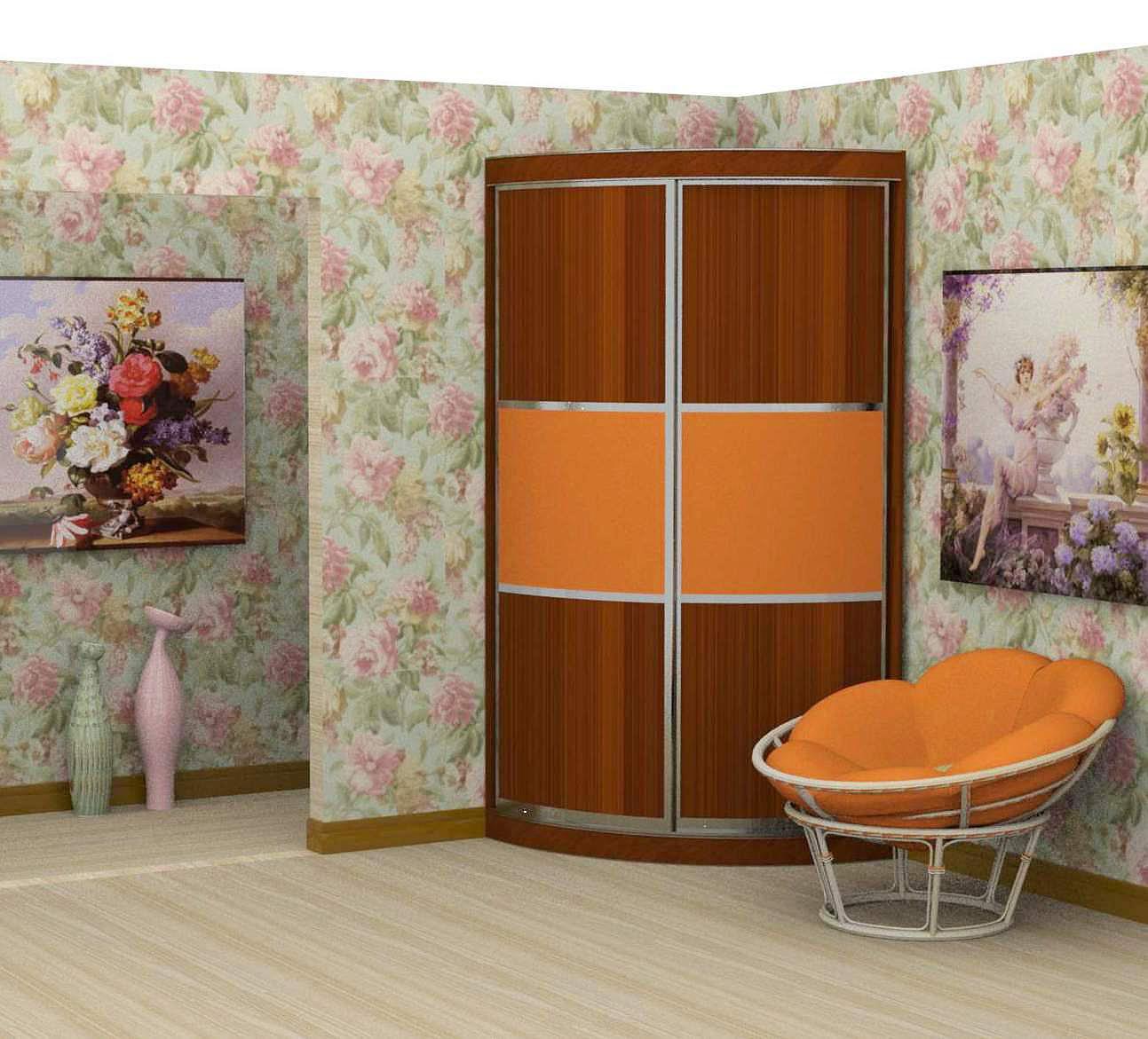 Цветной радиусный шкаф