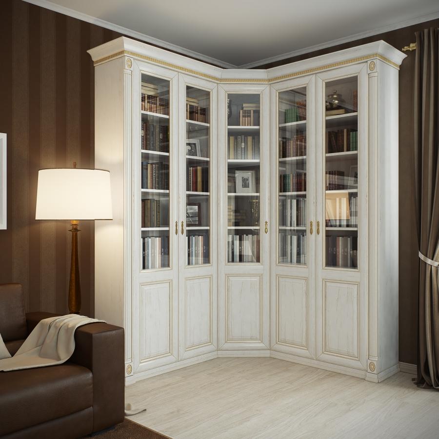 Угловая белая библиотека