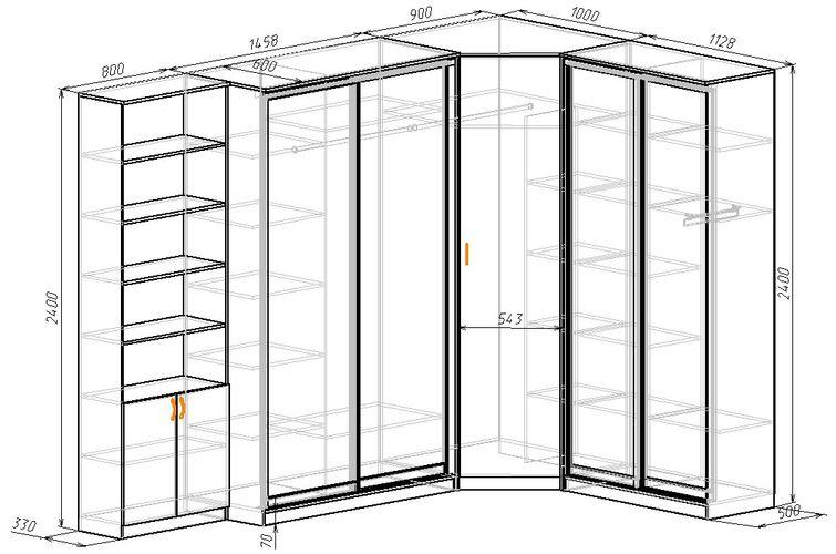 Угловой шкаф-купе в спальню размеры
