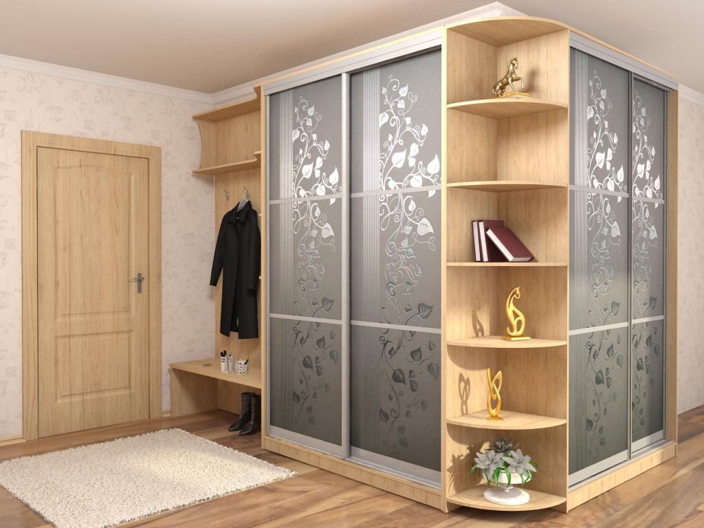 Угловой шкаф с пескоструйным рисунком