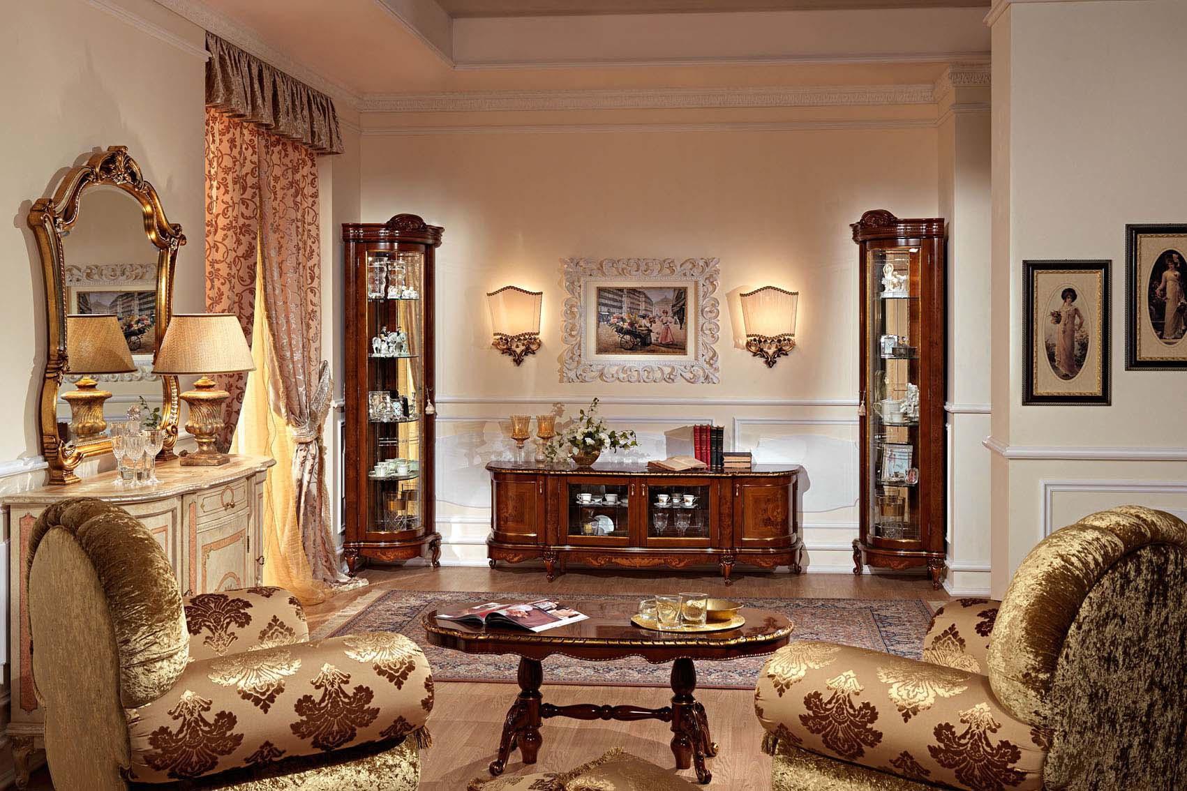 Угловые витрины в интерьере гостиной