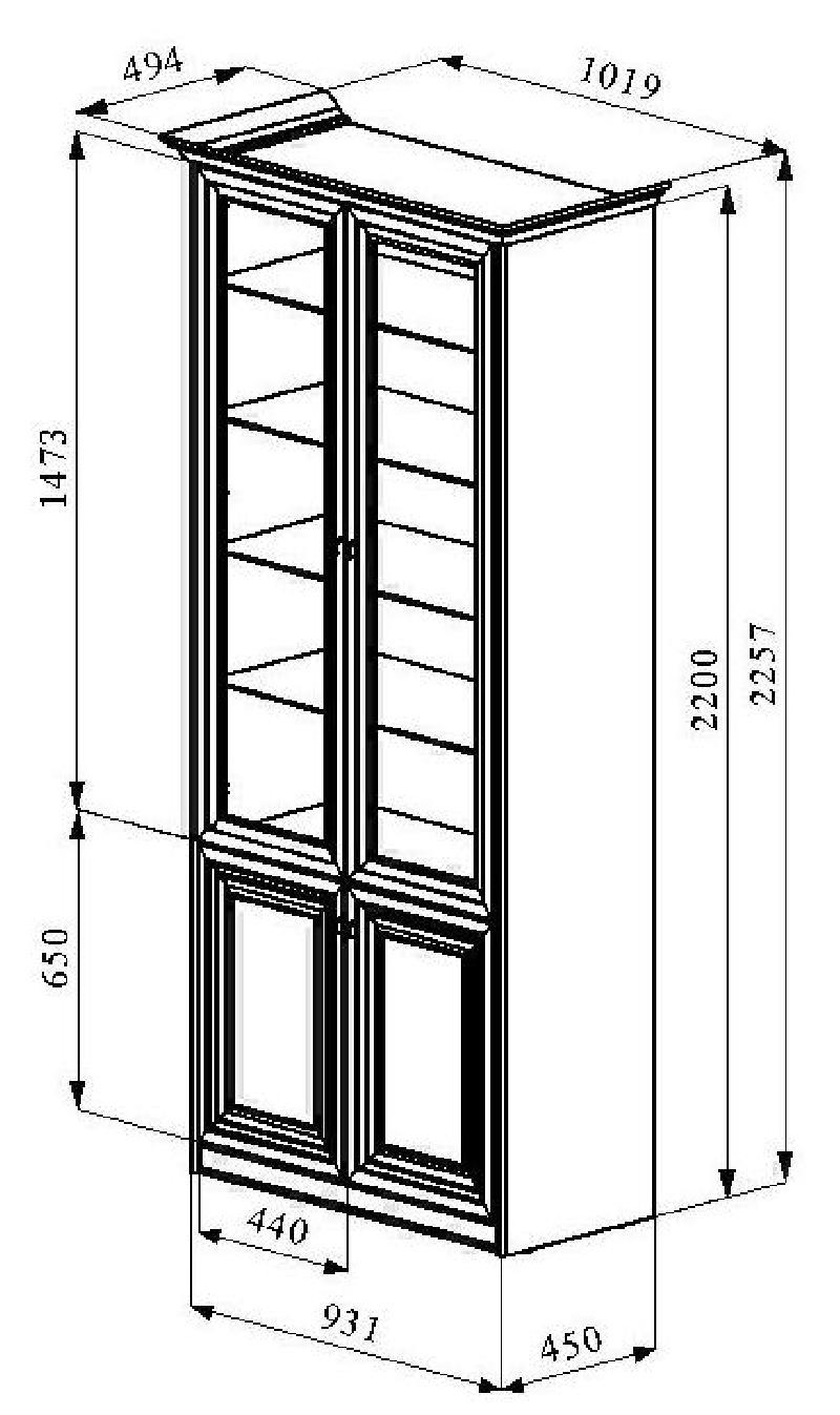 Вариант размеров шкафа