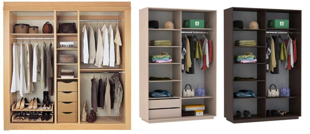 Наполнение шкафа купе в спальню, виды для различных конструк.