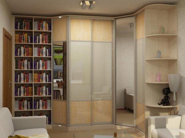 Закрытый книжный шкаф купе с пристроенным стеллажем
