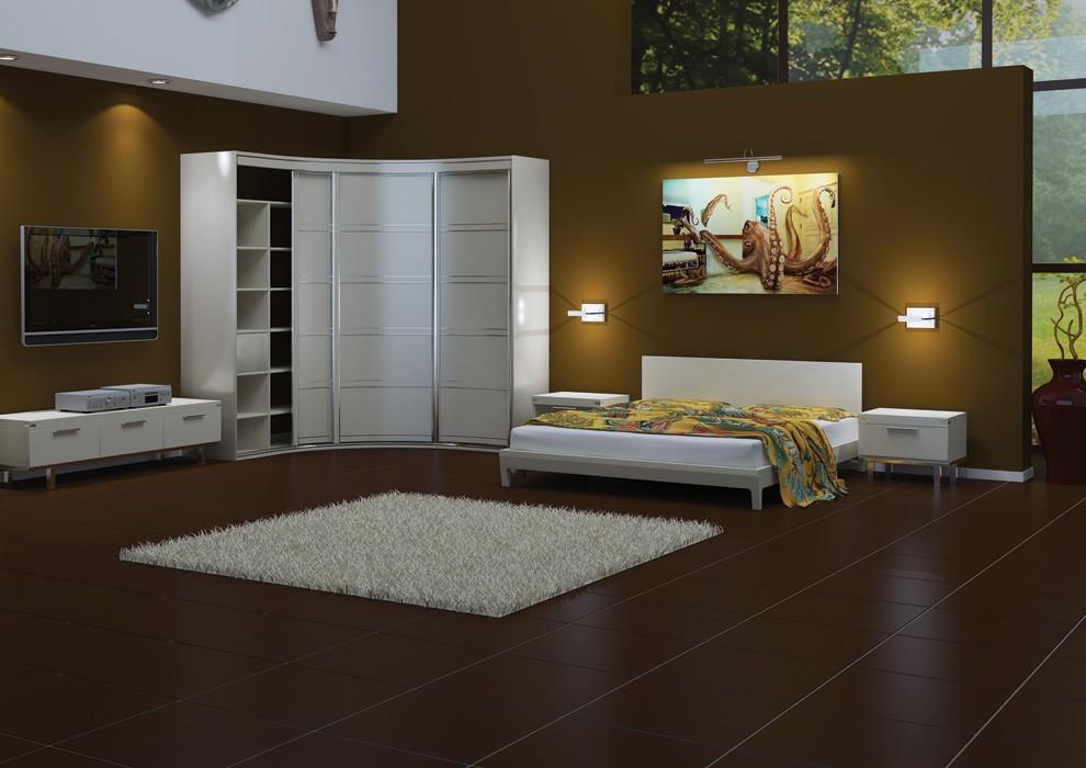 Белая мебель в темной спальне