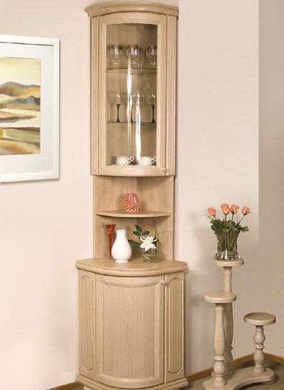 Угловой шкаф для посуды, варианты оформления фасада и размещ.