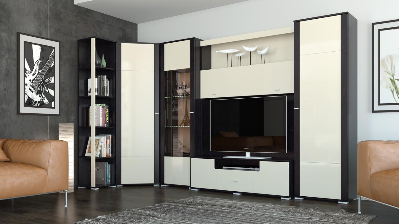 Черно-белая стенка в гостиную с угловым шкафом