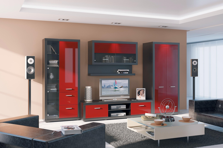 Черно-красная гостиная