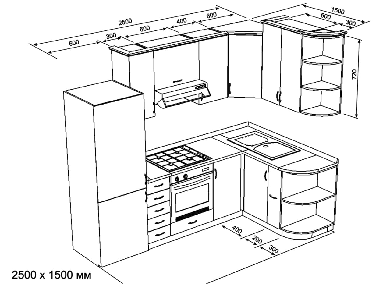 Деталировка основных кухонных шкафов