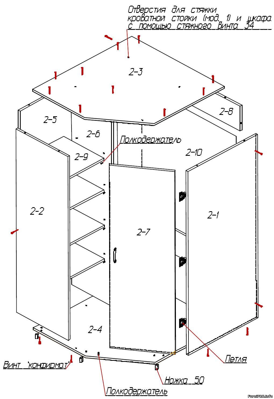 Деталировка углового шкафа