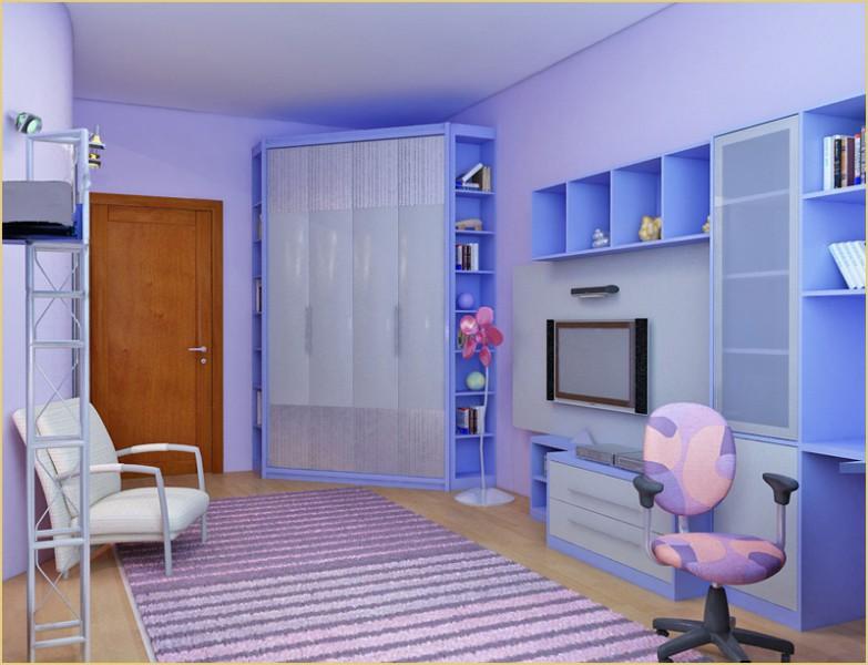 Дизайн детской угловой комнаты