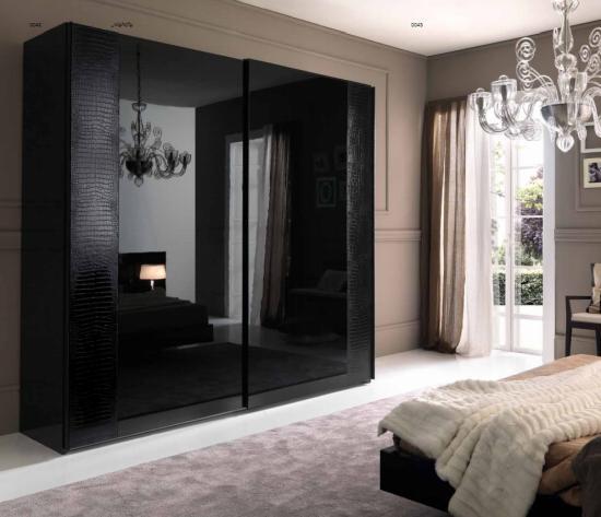 Дизайн эксклюзивного черного шкафа-купе
