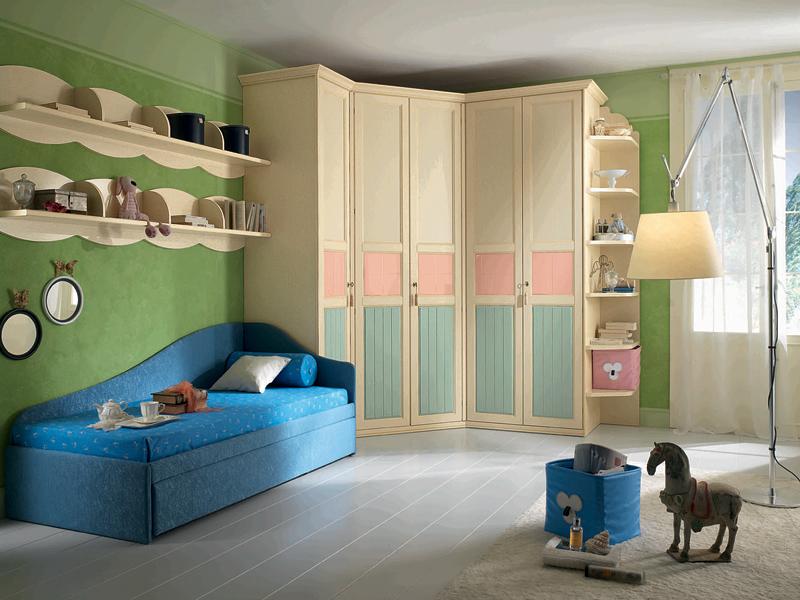 Дизайн угловых шкафов в детскую