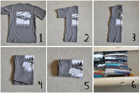 Компактное хранение футболок