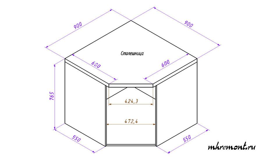 Как сделать угловую кухню своими руками: чертеж 60