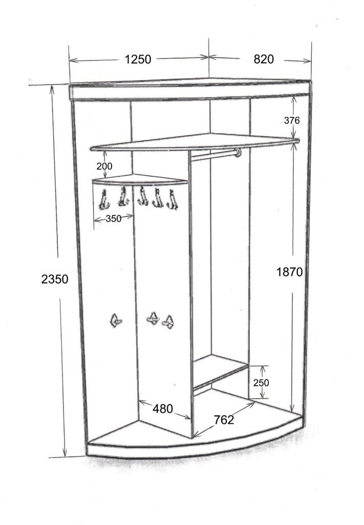 Маленький радиусный шкаф с размерами
