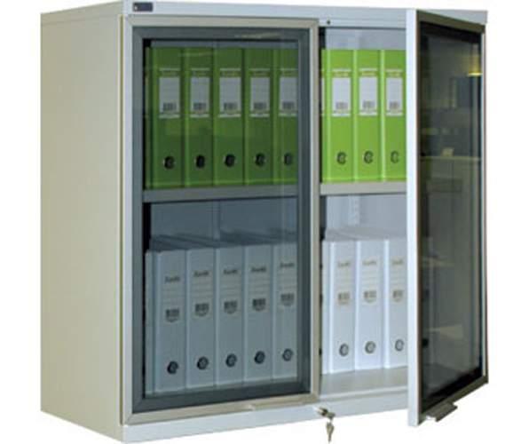 Металлический шкаф со стеклянным фасадом